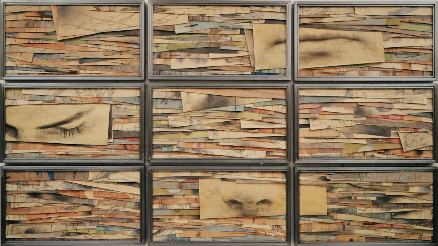 Senza titolo,   Tecnica mista ed emulsione fotografica su carta, ferro, vetro  Polittico, 9 elementi cm.150 x 270