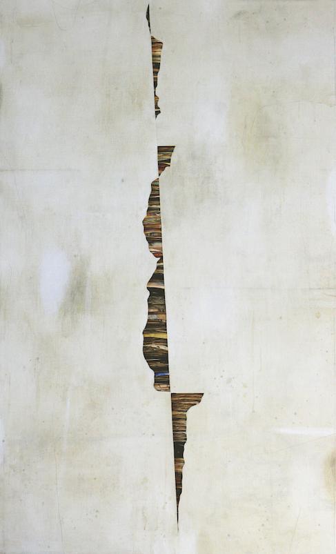 senza titolo  2016,tecnica mista su carta e tela cm.200 x 120