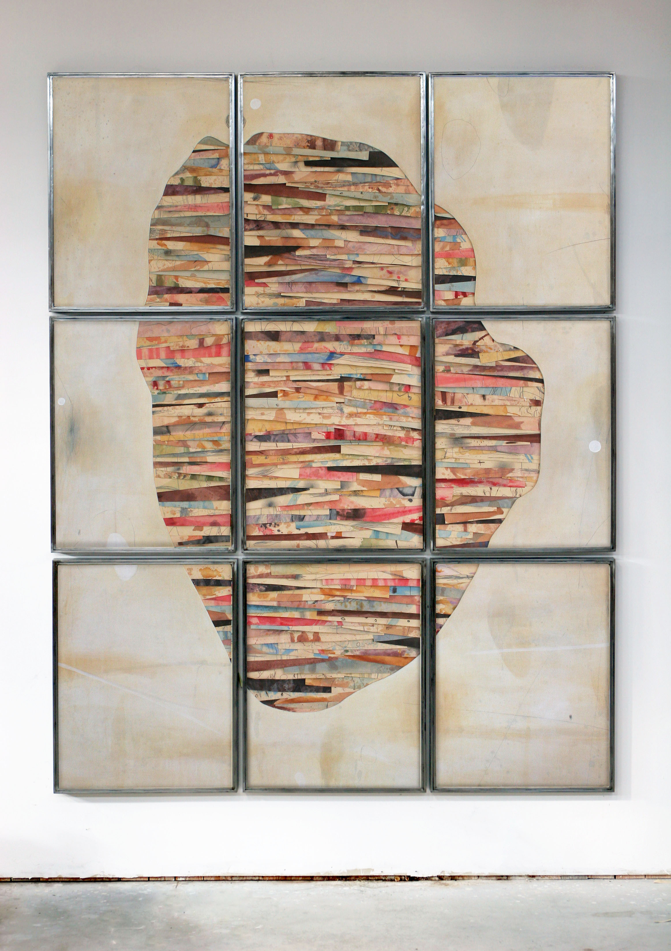 senza titolo 2018,   tecnica mista su carta e tela su legno, ferro e vetro cm. 280x220