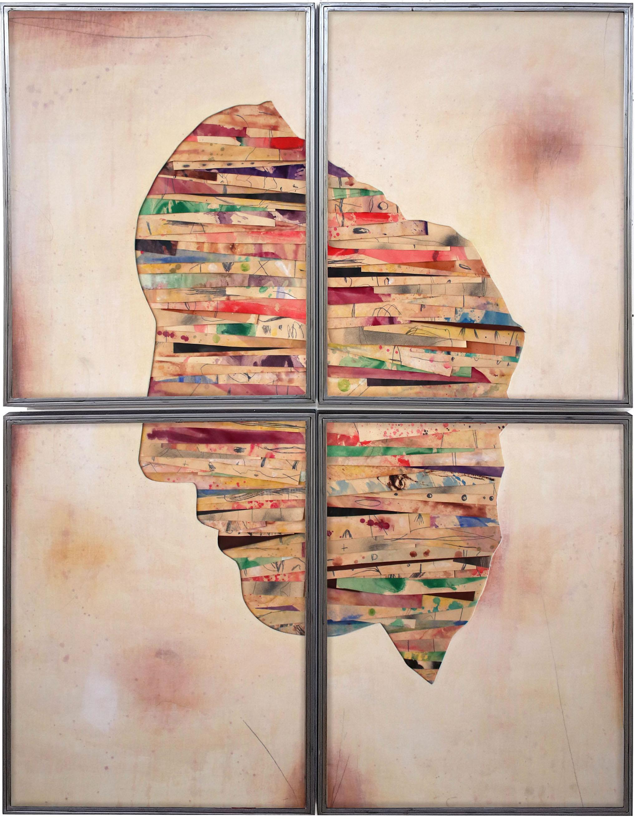 Senza titolo 2019,  tecnica mista su carta e tela incollata su legno, ferro, vetro, cm. 186x146