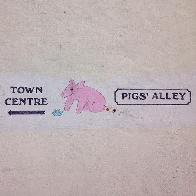 Pigs' Alley in Gloucester 👌🏼🐷🐖🐽 #pigsalley #gloucester #pig #signage #map #arrow #towncentre #pink #sign #alley #weird #illustration #whydoesthispighavefists