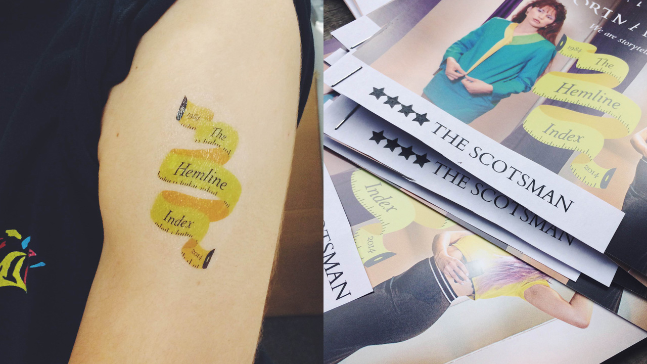 Temporary tattoos & the flyers with the review stars on