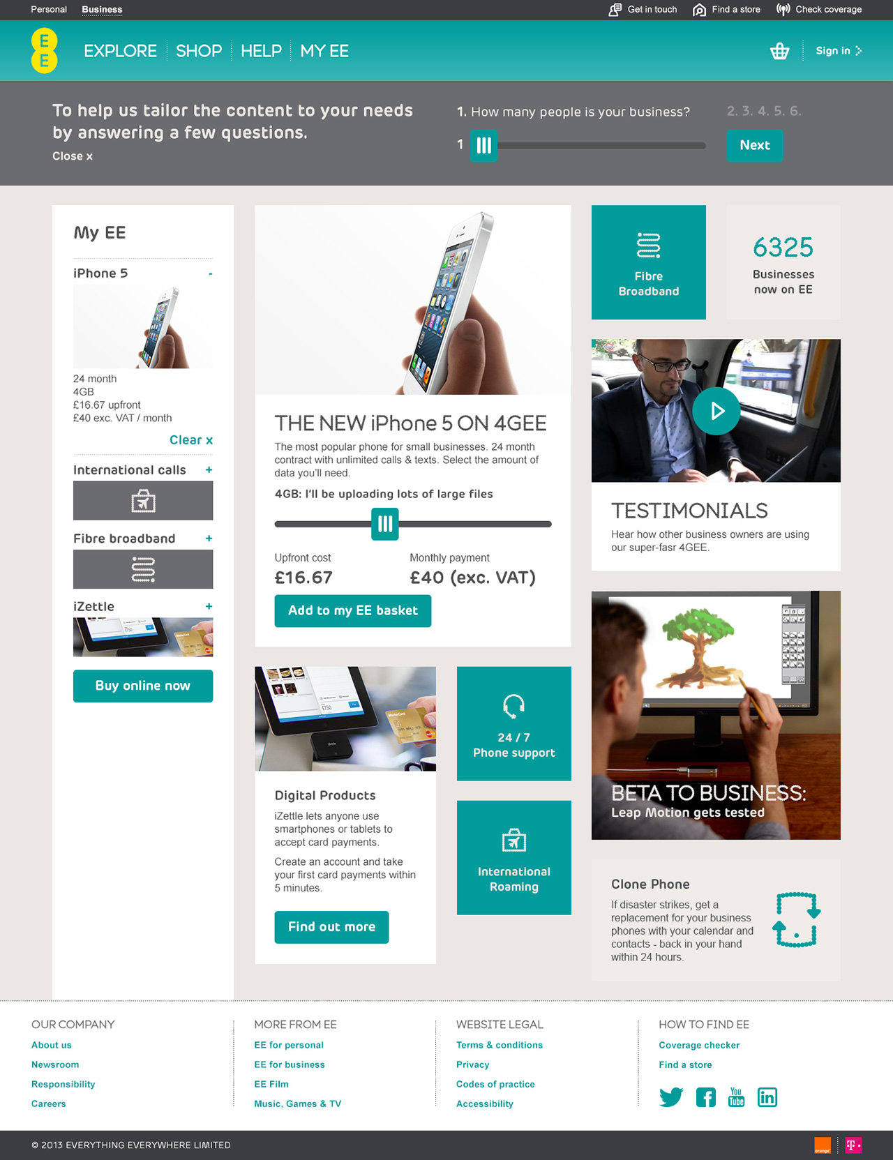 EE Small Business homepage