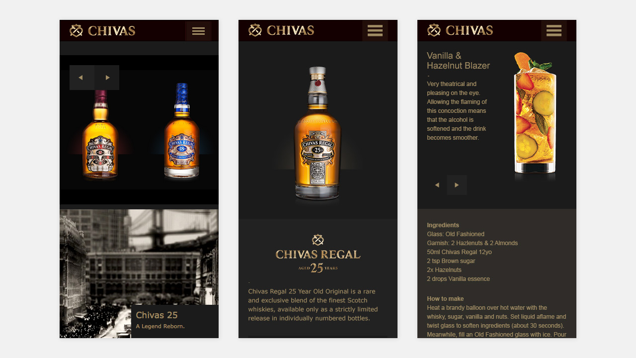 Responsive homepage, Chivas 25 profile and mixology pages