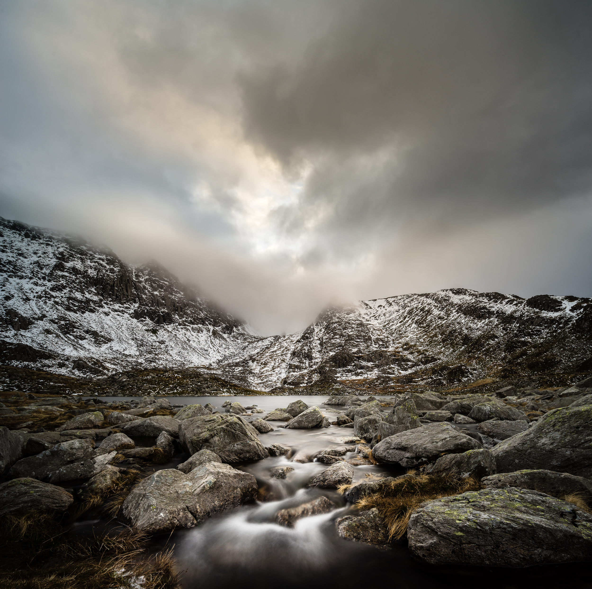 Standing in a stream from Llyn Bochlwyd. 18mm, ISO 100, f/8, 13 seconds.