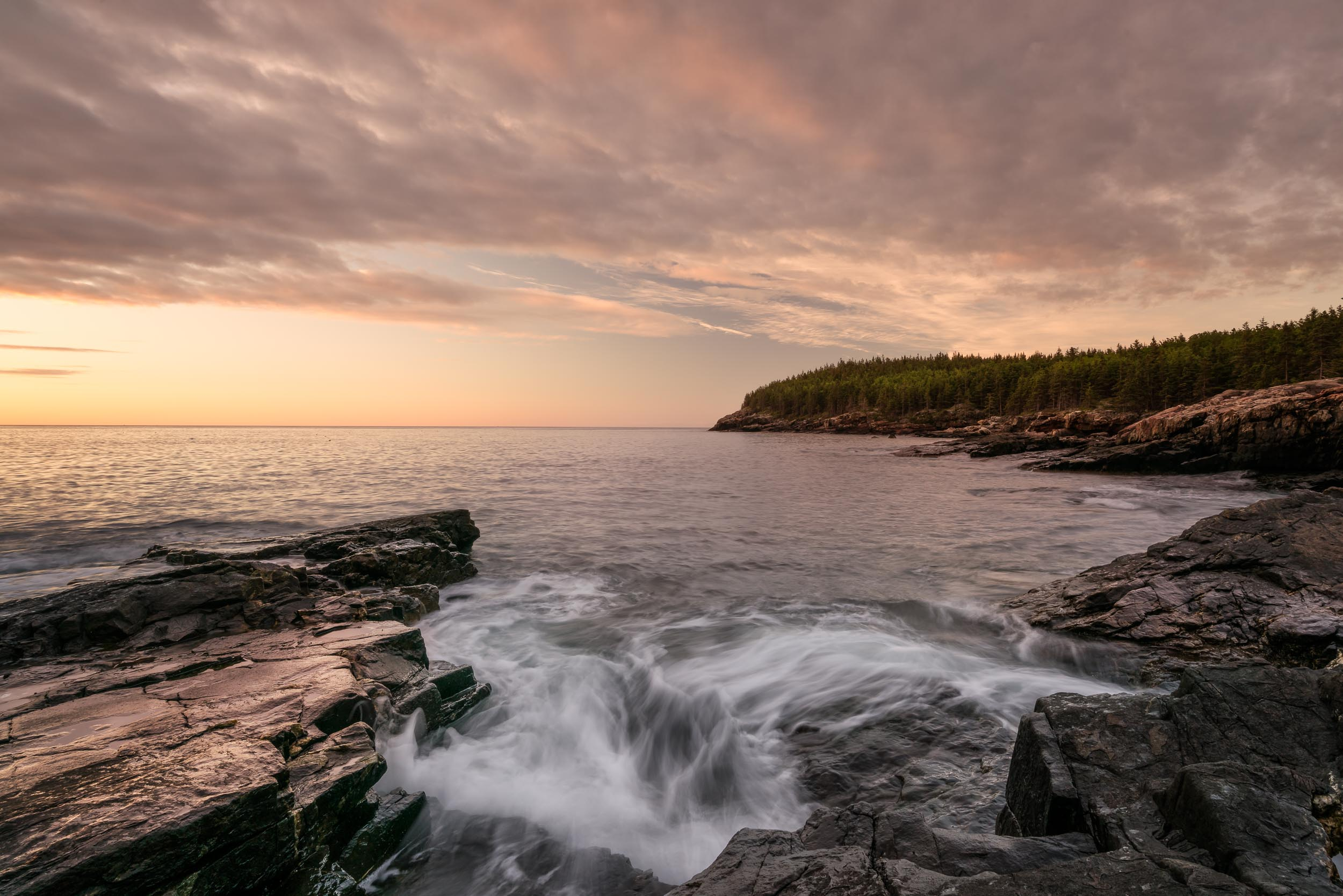 0.4 seconds for the water to climb the rocks in Acadia National Park.