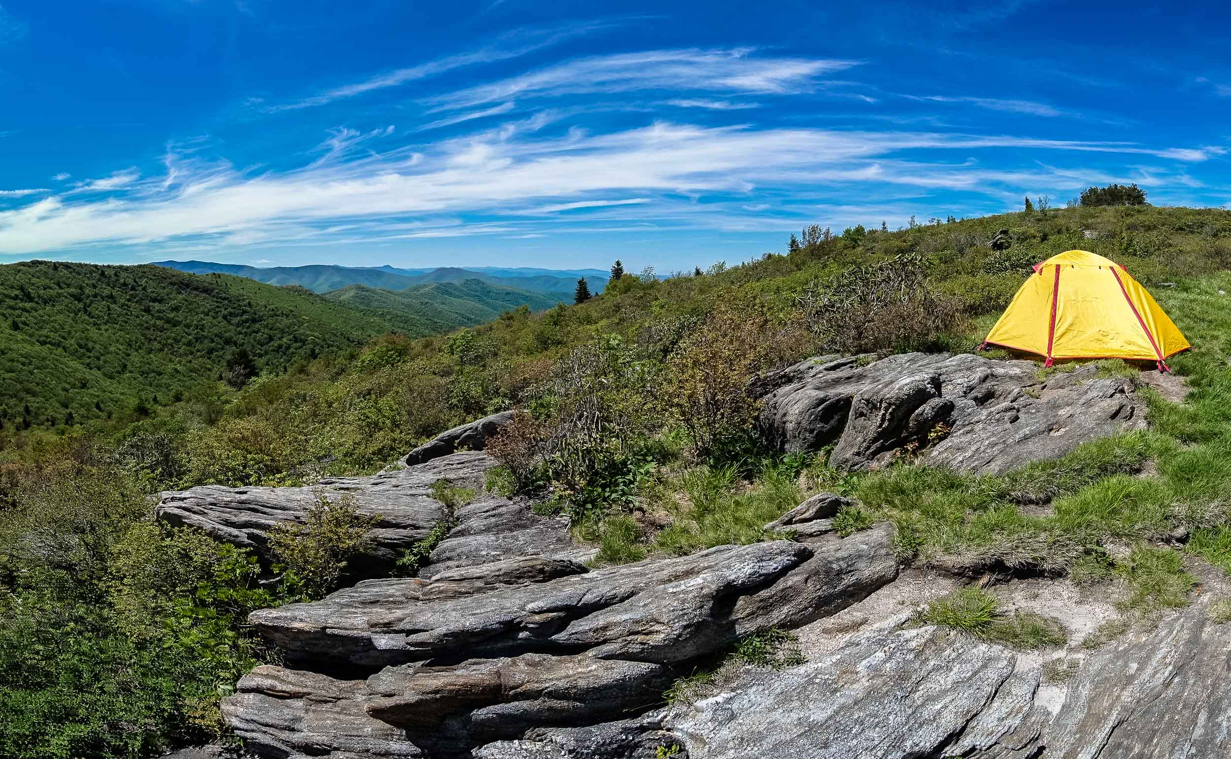 Camping in Pisgah National Forest.