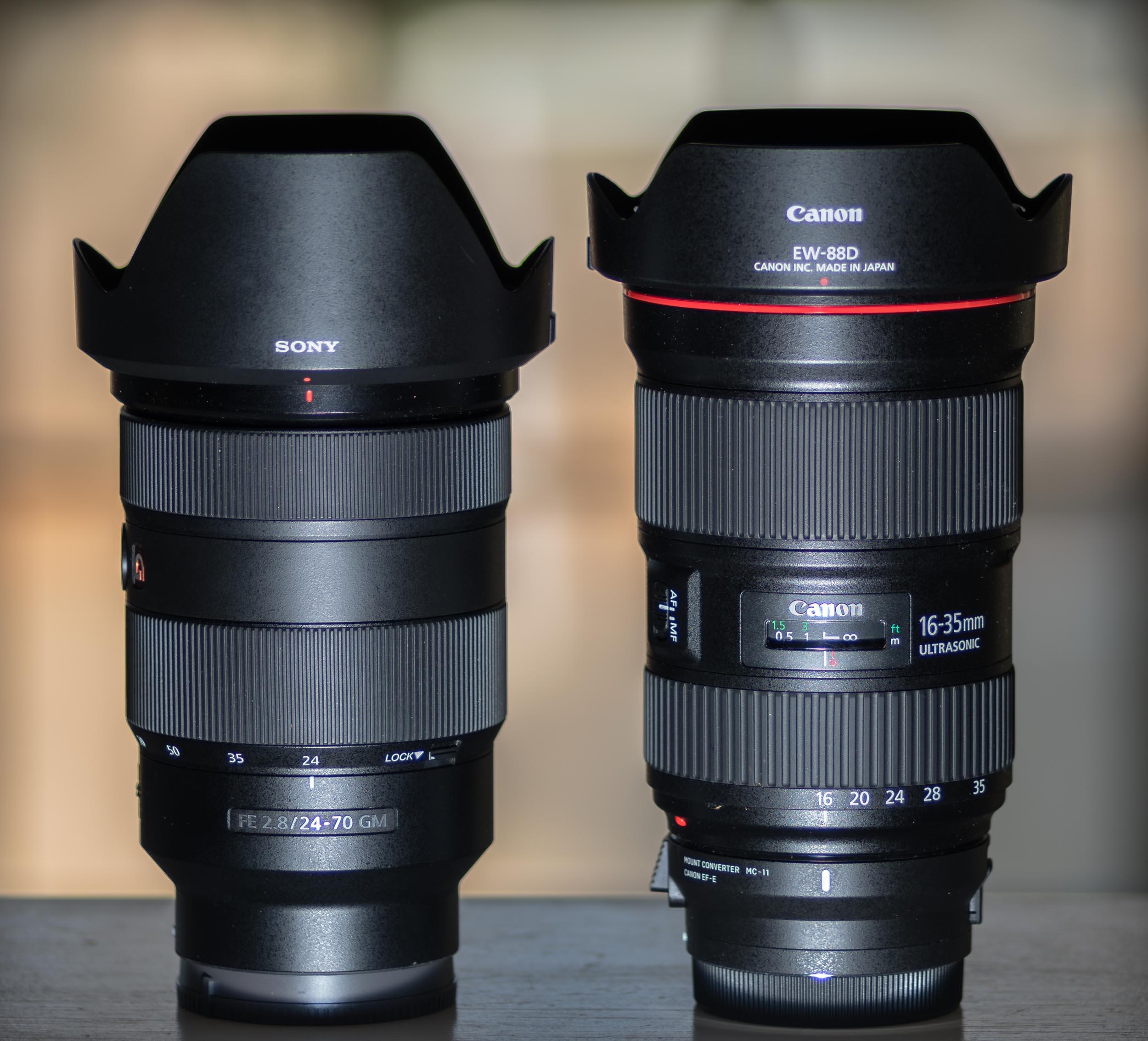 Sony FE 24-70mm f/2.8 GM vs Canon EF 16-35mm f/2.8L III USM with Sigma MC-11 attached.
