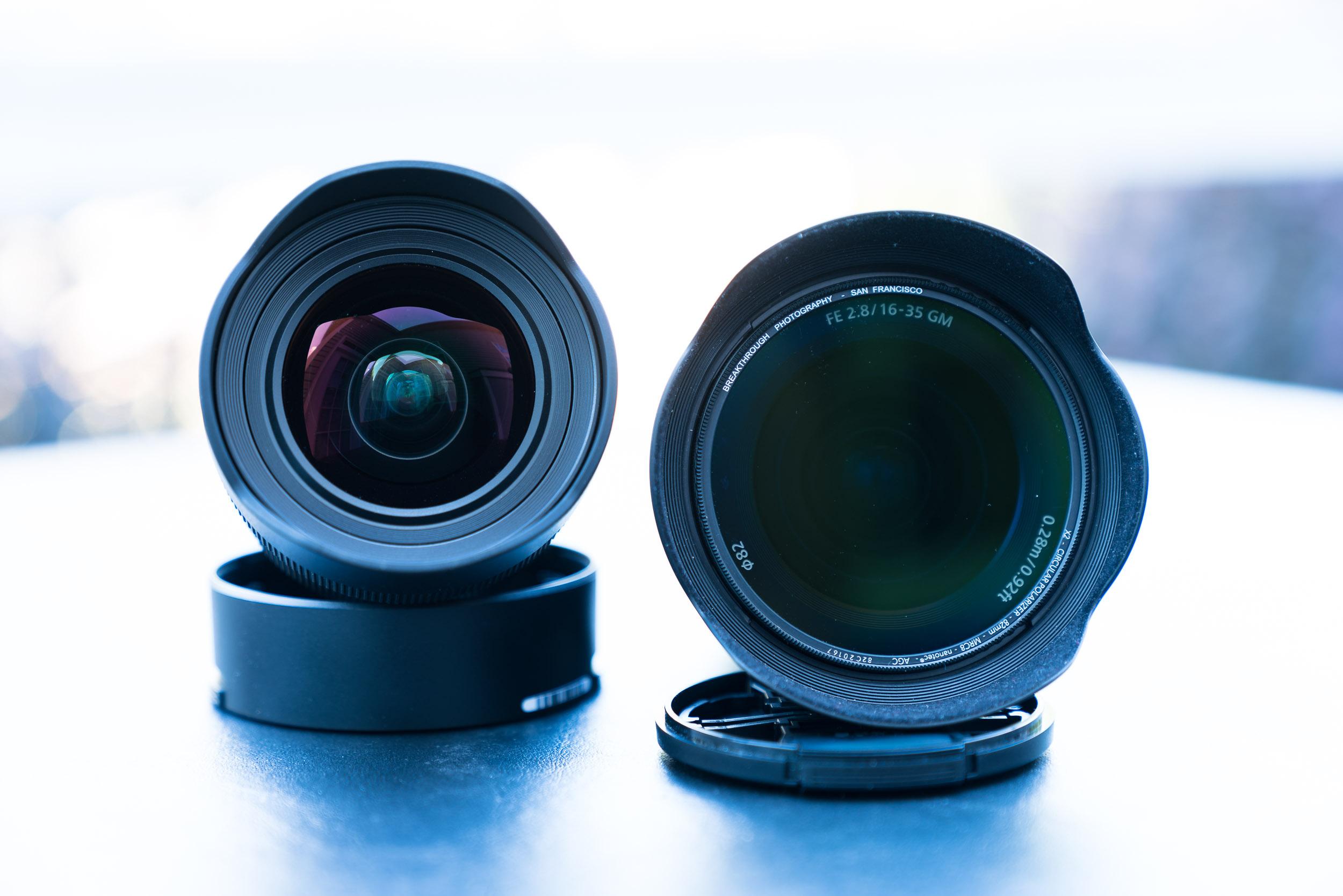 Sony 12-24mm G f/4 left, Sony 16-35mm GM f/2.8 with circular polarizer right