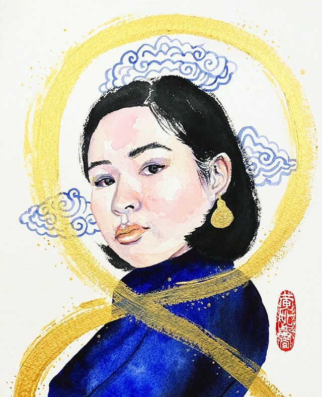 Sister to Lucky Number 8  #art #illustration #ink #watercolor #watercolour #artist #illustrator #painting #portrait #paint #arches #winsorandnewton #gold #sister