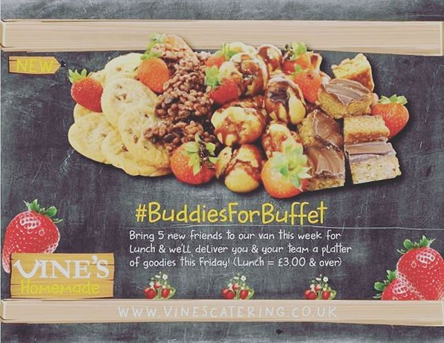 #BuddiesForBuffets ☺️ Bring five new buddies to our #FreshVan this week for lunch and we'll deliver you a buffet of goodies this Friday! #vinesfresh #food #peterborough #keepingitfresh