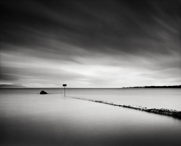Title: Lake Signs, Camera: Ebony RSW 45, Lens: Rodenstock 45 mm, Filtr: Lee Big Stopper and Lee ND Grad 0.6, Film: Kodak Tri-x 400, Exposure: 320″ , f 13