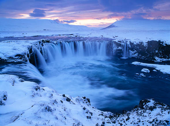 Capture: Godafoss at Dusk, Camera: Hasselblad H1, Lens: 35mm, Film: Fuji Velvia 50, Filters: Lee ND Graduated 0.6 Soft, Aperture: f/11, Exposure: 0.8s
