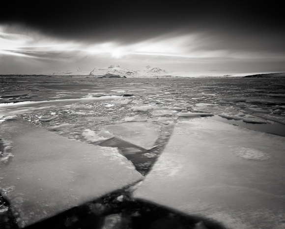 Title: Winter Flow, Camera: Ebony RSW 45, Lens: Rodenstock Apo-Grandagon 45 mm, Filter: Lee Big Stopper, Film: Kodak T-Max 100, Exposure: 400″ , f 16, Jokulsarlon, Iceland, 2012