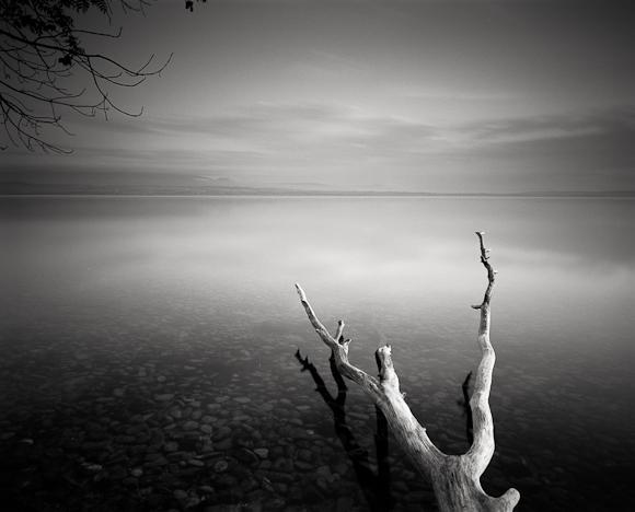 Title: Serenity II, Camera: Ebony RSW 45, Lens: Rodenstock Apo-Grandagon 45 mm, Filter: Lee Big Stopper, Film: Kodak T-Max 100, Exposure: 250″ , f 18, Lac Leman, France, 2012