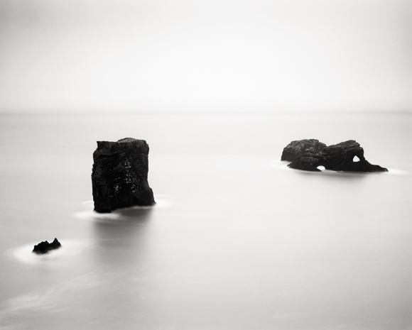 Title: Two Towers, Camera: Ebony RSW 45, Lens: Nikkor W 210 mm, Filter: Lee Big Stopper, Film: Kodak T-Max 100, Exposure: 180″ , f 16, Jokulsarlon, Iceland, 2012