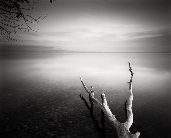 Title: Serenity 2, Camera: Ebony RSW 45, Lens: Rodenstock Apo-Grandagon 45 mm, Filter: Lee Big Stopper, Film: Kodak T-Max 100, Exposure: 250″ , f 18, Lac Leman, France, 2012