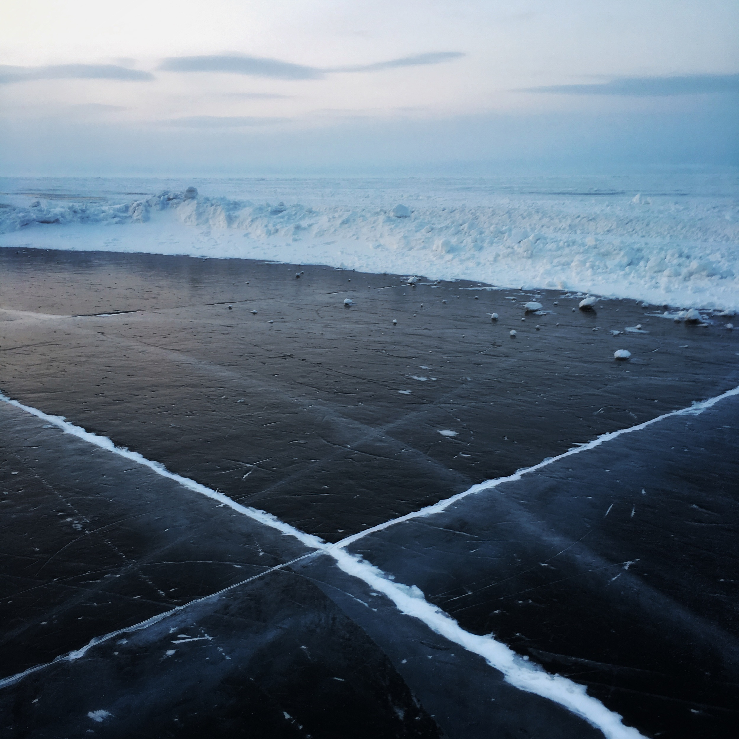 The patch of cracked ice. I feel as if I walk the water.