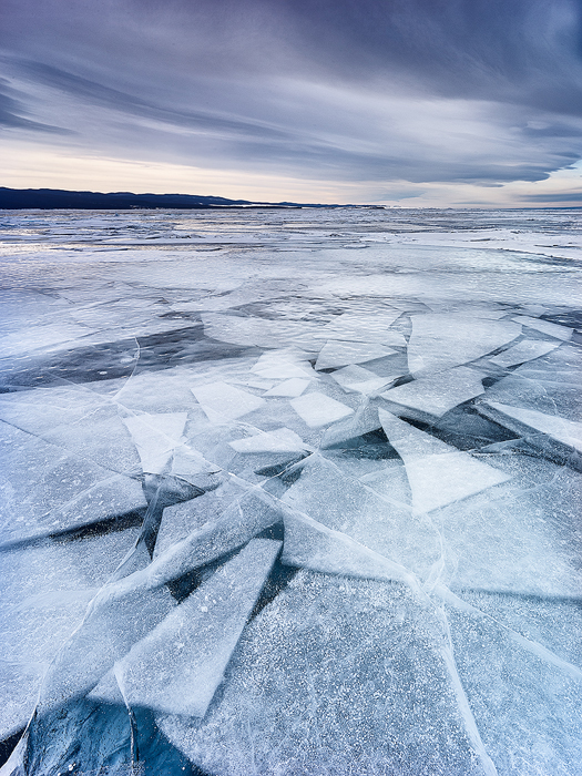 Caption: Walking on Broken Glass, Camera: Linhof Techno, Lens: Rodenstock 23mm, Exposure: 1/4s, Aperture: f/11, ISO: 100, Filters: Lee Graduated ND 0.45,Photographed: Baikal Lake, Siberia, Russia, March 2016