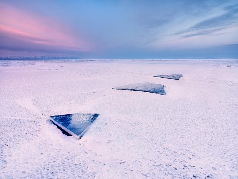 Evening at winter Lake Baikal, Russia
