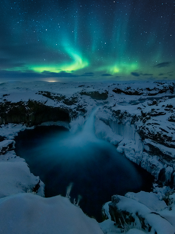 DAY 5 by Aldeyjarfoss. This place is remote and needs a superjeep to get there in the winter. The boys from geotravel.is drove me there. We had a very cold but amazing night with bits of aurora.