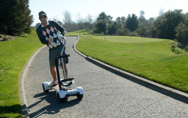 Jesse Jones, of Mill Valley, rides a Golfboard at Bay Club Stonetree in Novato on Jan. 22, 2015. (Alan Dep/Marin Independent Journal)