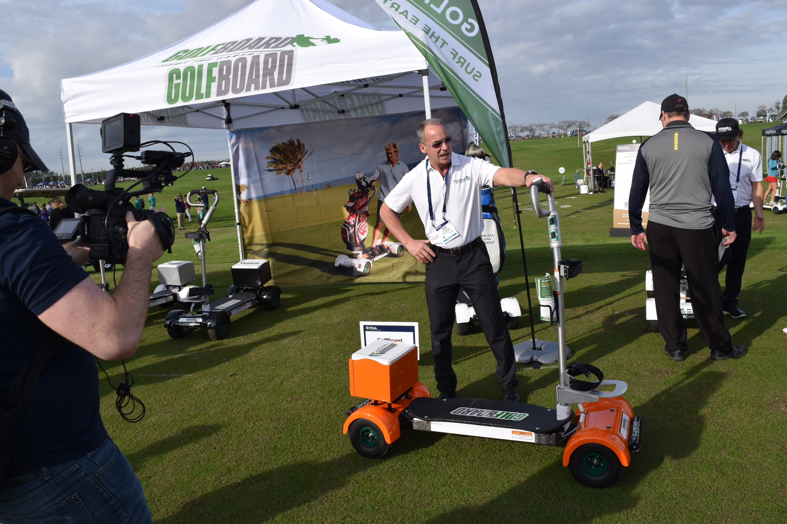 GolfBoard CEO John Wildman Demonstrates the GolfBoard for the cameras at Demo Day of the 2016 PGA Merchandise Show
