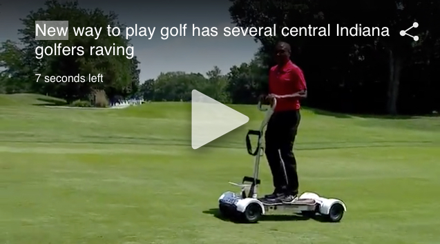 Anthony Calhoun of WISHTV.com taking the GolfBoard for a spin.