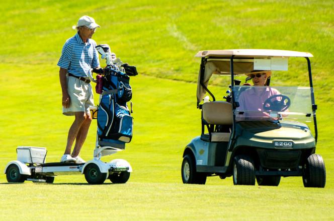 John Haines, 77, of Garrison, N.Y., rides the GolfBoard. Photo: Andrew Theodorakis