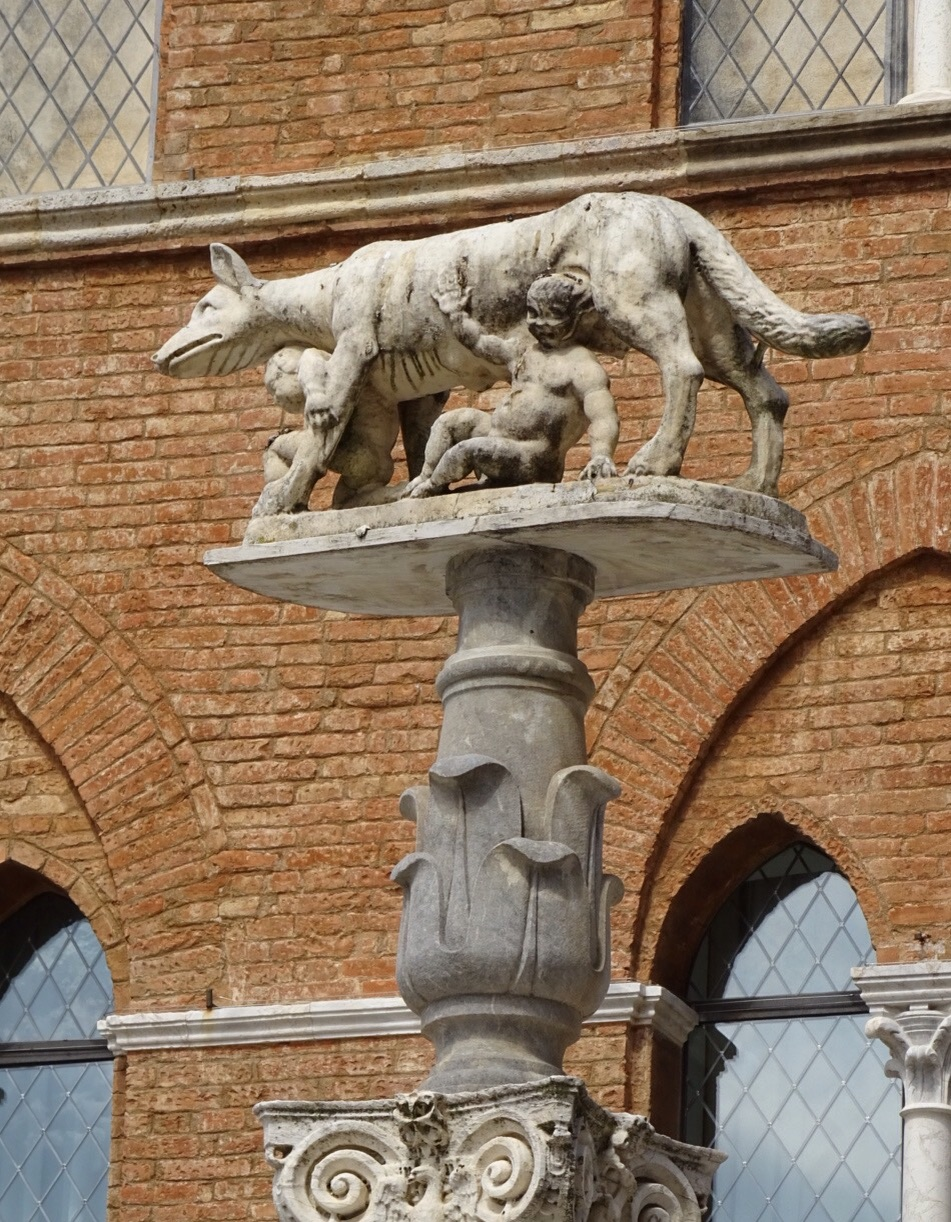 One of the statues we saw outside of the Duomo Romulus and Remus and the She-Wolf.