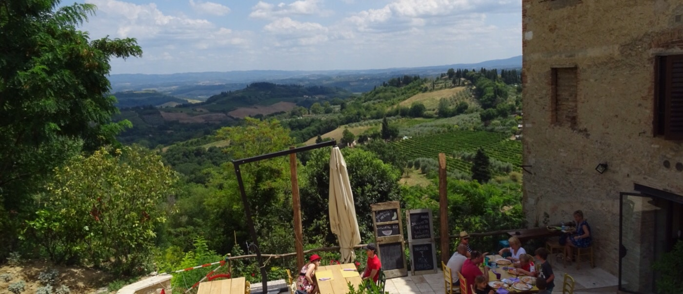 Viewing the Tuscan countryside before entering the walled town.