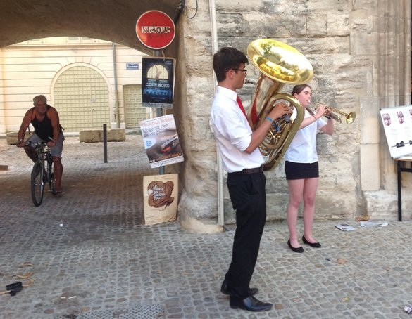 Jazz-advertising a concert in Avignon whilst on tour.
