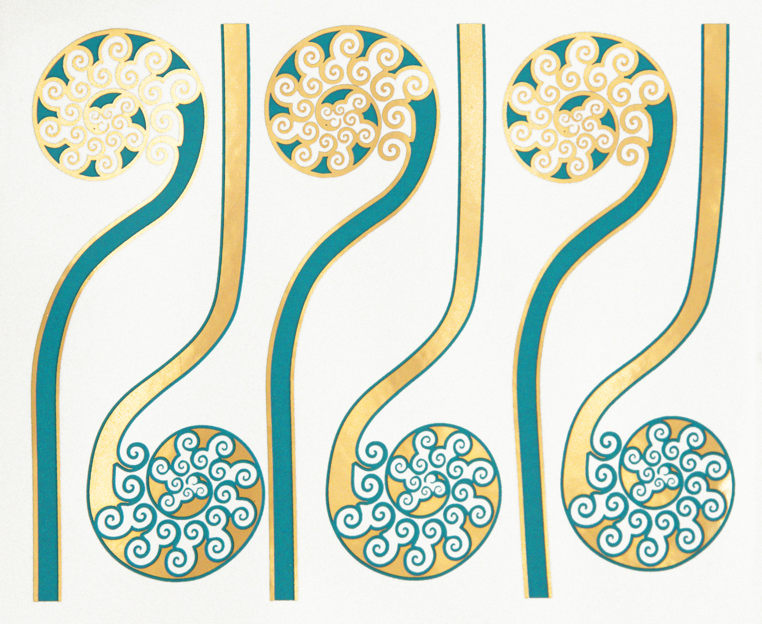 Turquoise+Gold Fiddleheads