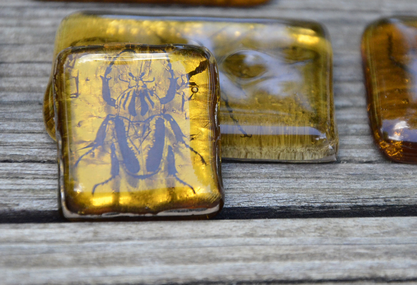 Test 6: The Platinum Sandwich  was one of our favorites. Reflections, depth and even some well-placed bubbles (purely accidental) give this  Insect in Amber  a very interesting look. The way the platinum peeks out between the two glass layers is also a very nice feature.