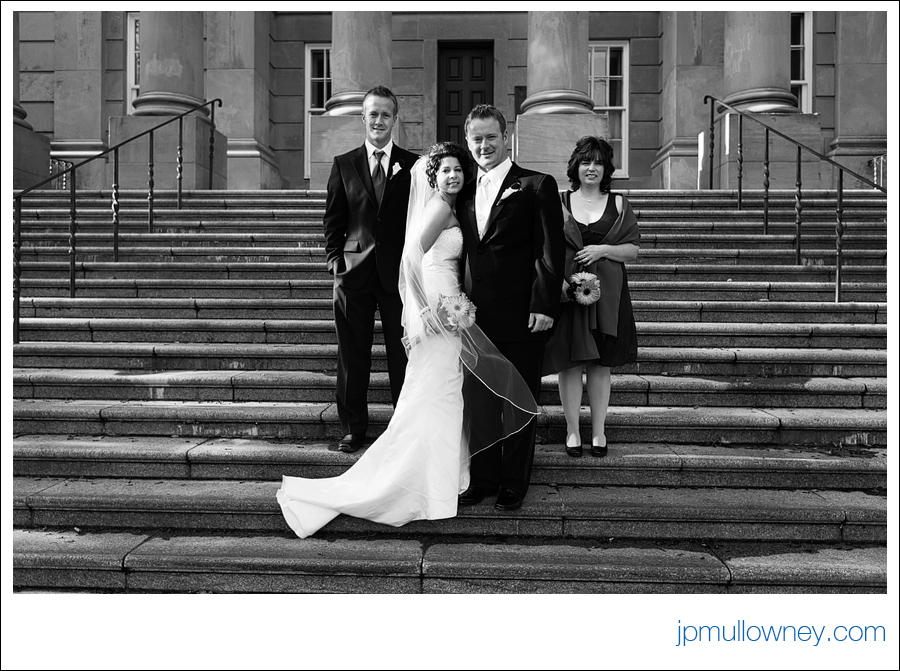 Wedding Party on Colonial Building Steps