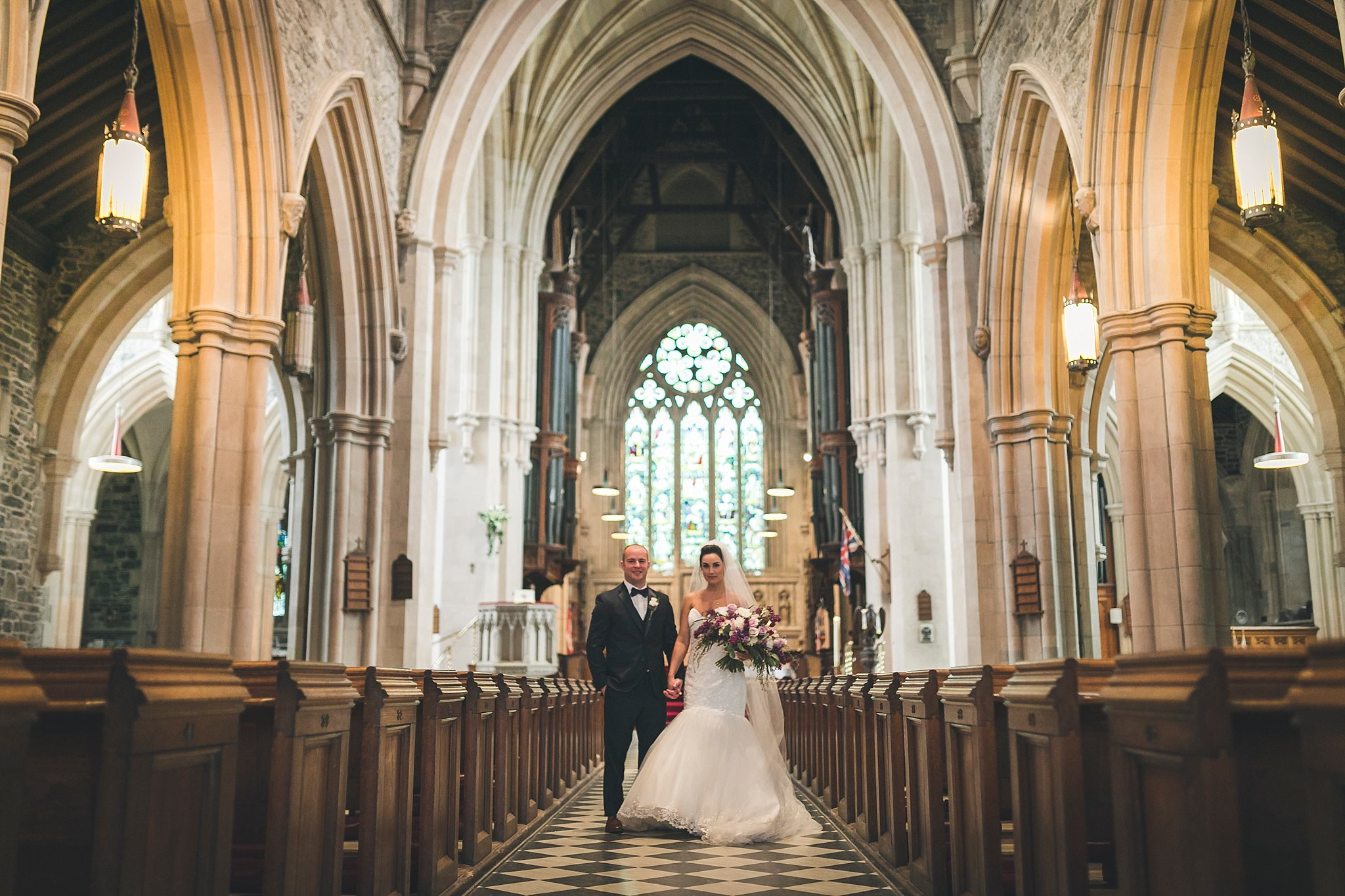 Bride and Groom portrait in the Anglican Cathedral during a St. John's, Newfoundland wedding.