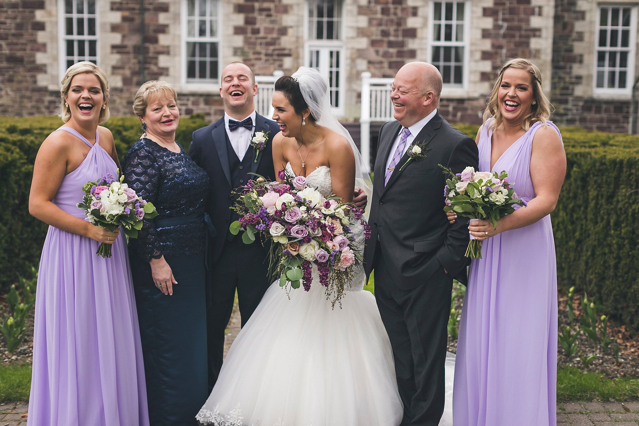 Bride and Groom with their family outside Government House during a St. John's, Newfoundland wedding
