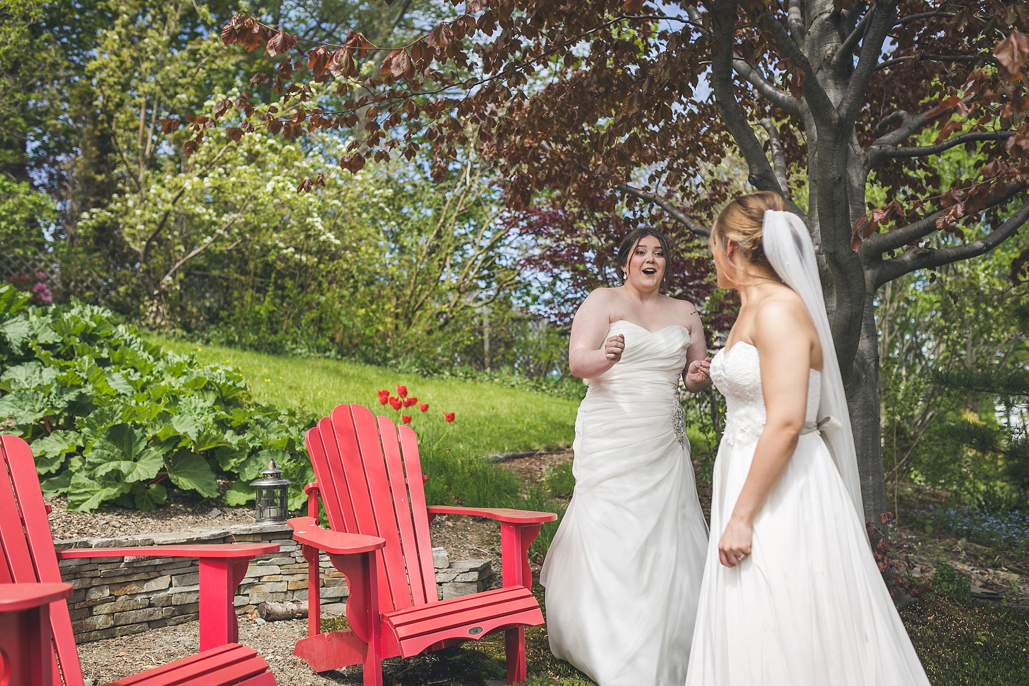 A couple reacts to seeing each other for the first time during their St. John's, Newfoundland wedding
