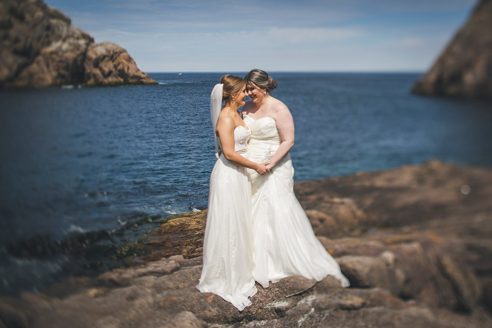 Same sex couple in Quidi Vidi for their wedding photography in St. John's, Newfoundland