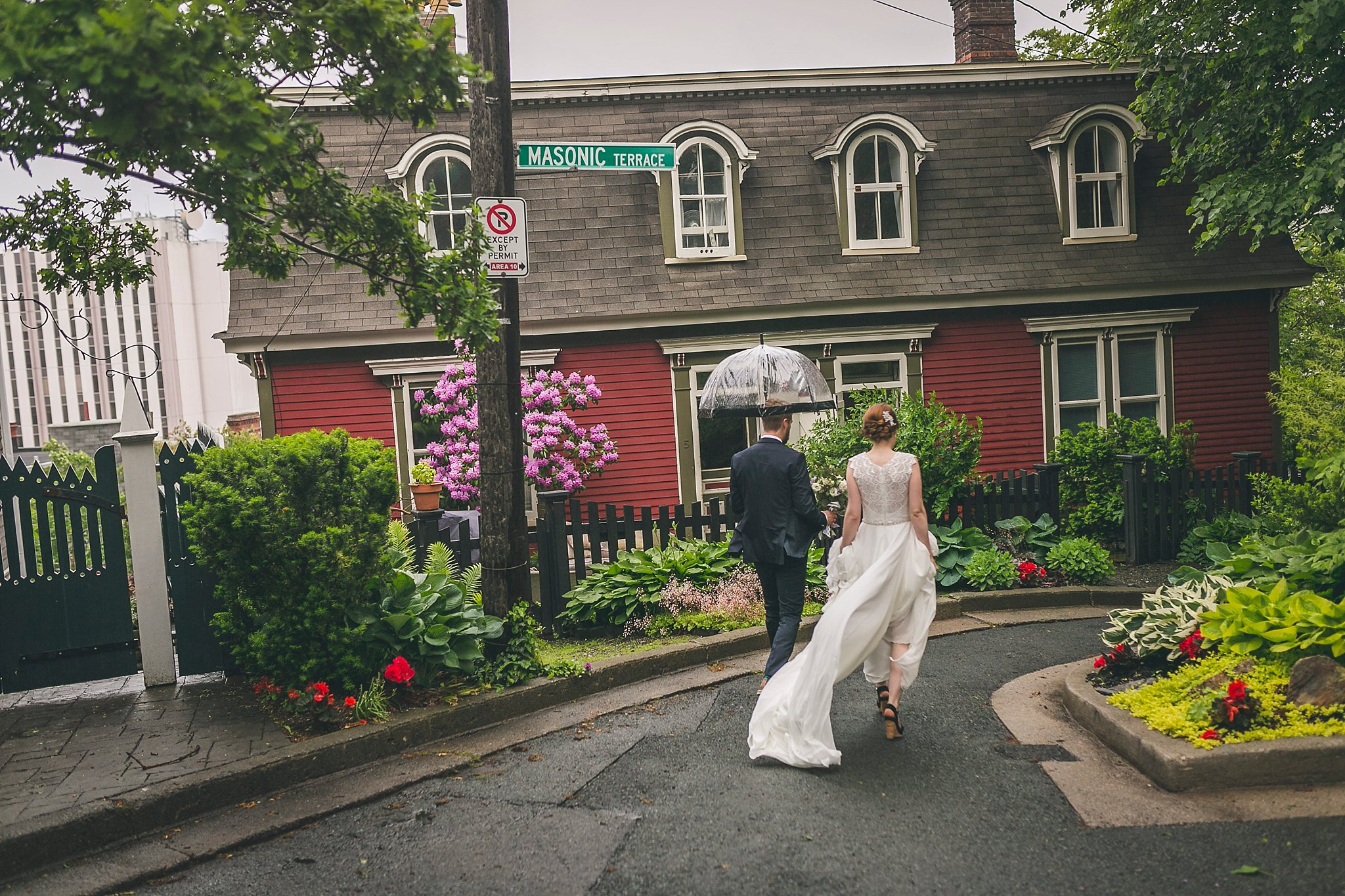 Bride and Groom downtown St. John's, Newfoundland