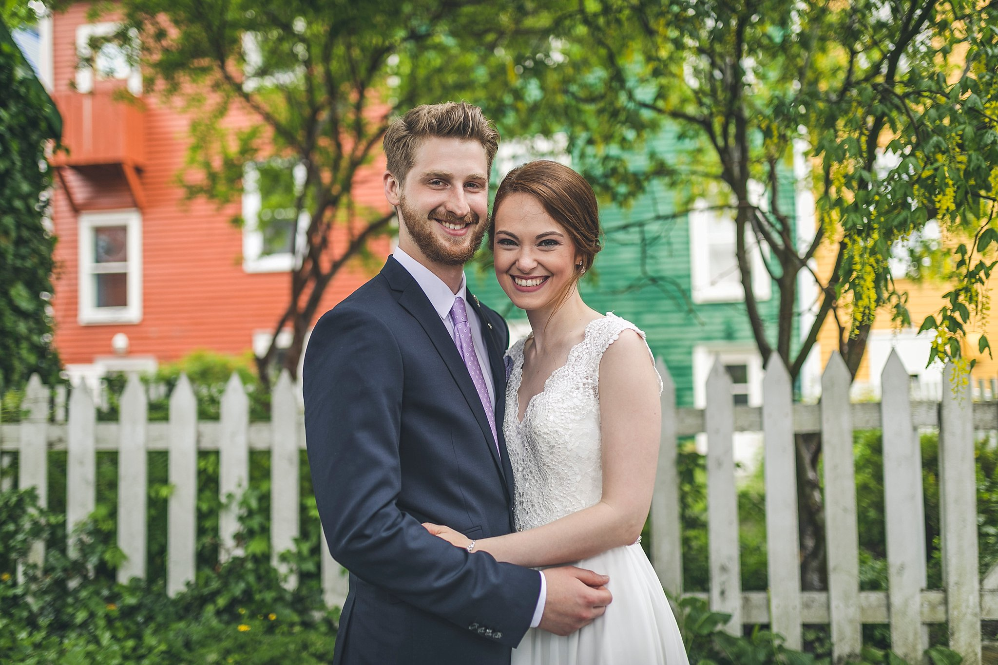 Bride and Groom have their photograph taken by St. John's, Newfoundland wedding photographer JP Mullowney off Gower Street