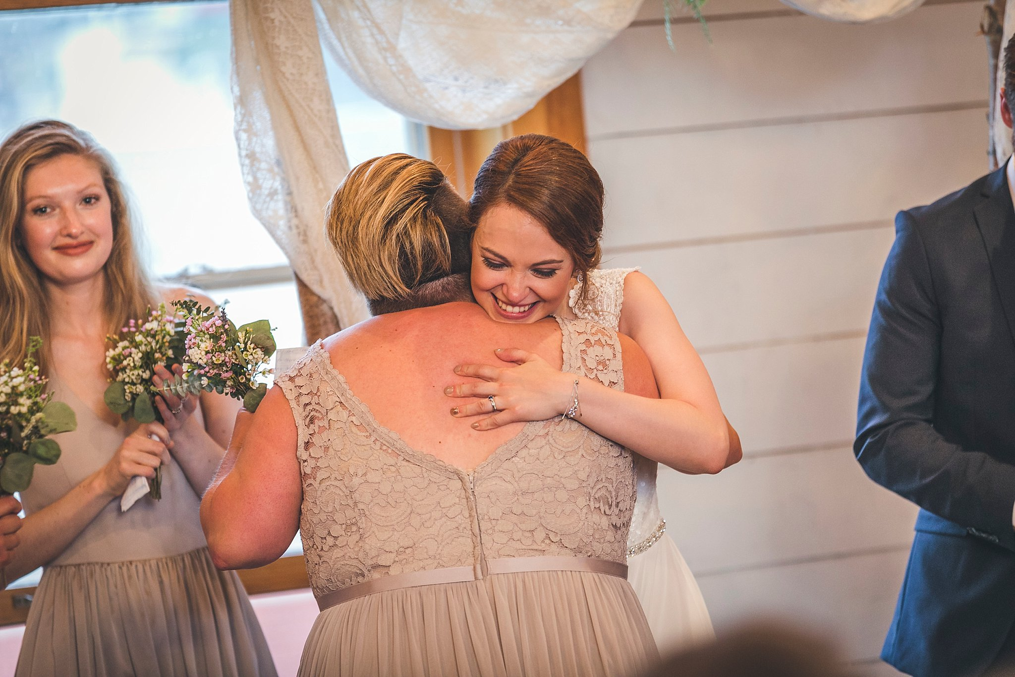 Bride reacts to her cousins speech at wedding at the Rocket Room in downtown St. John's, Newfoundland