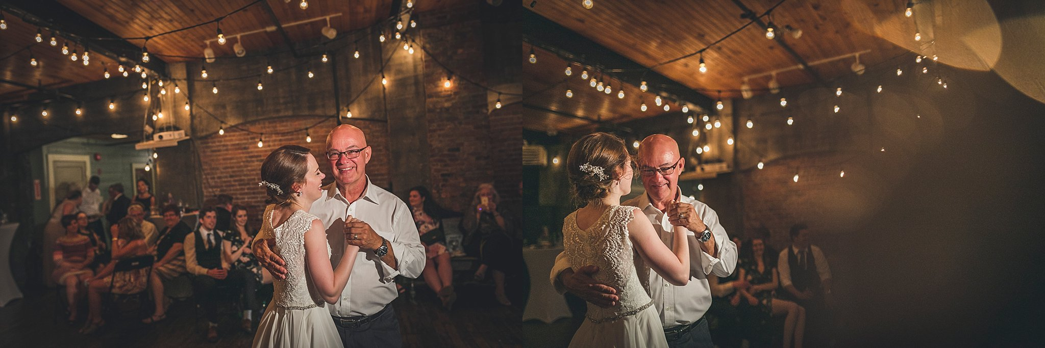 Bride and her father dance at The Rocket Room during their St. John's, Newfoundland wedding