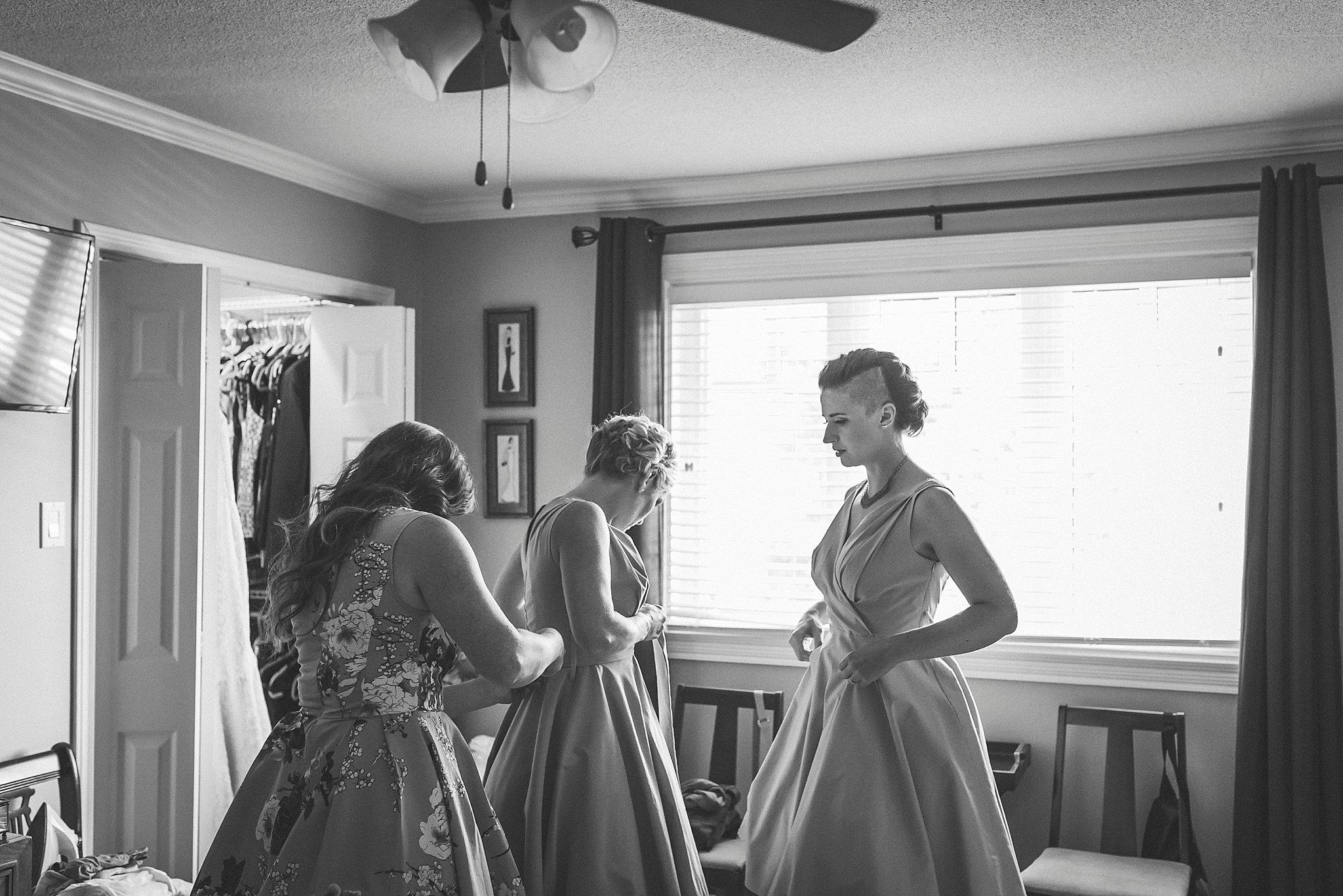 Bridesmaids prepare before a St. John's, Newfoundland Wedding