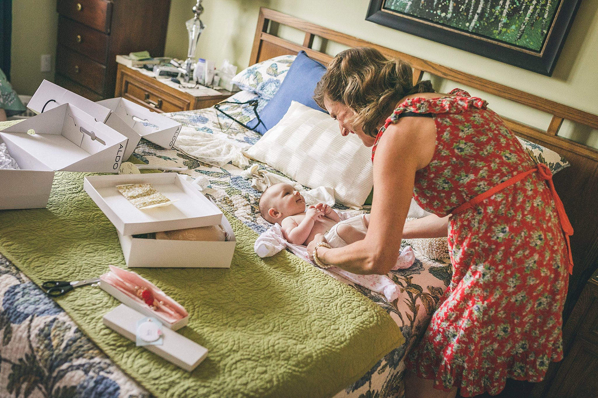 Bride and her infant daughter before her St. John's, Newfoundland Wedding
