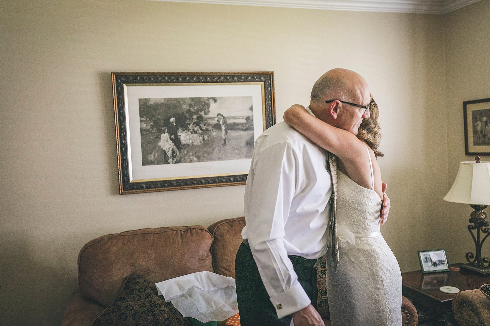 Bride and father embrace prior to her St. John's, Newfoundland wedding.