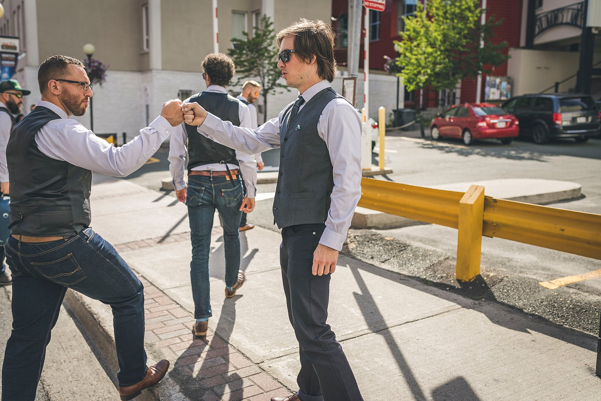 Groom and his friends carry on before his wedding in St. John's, Newfoundland