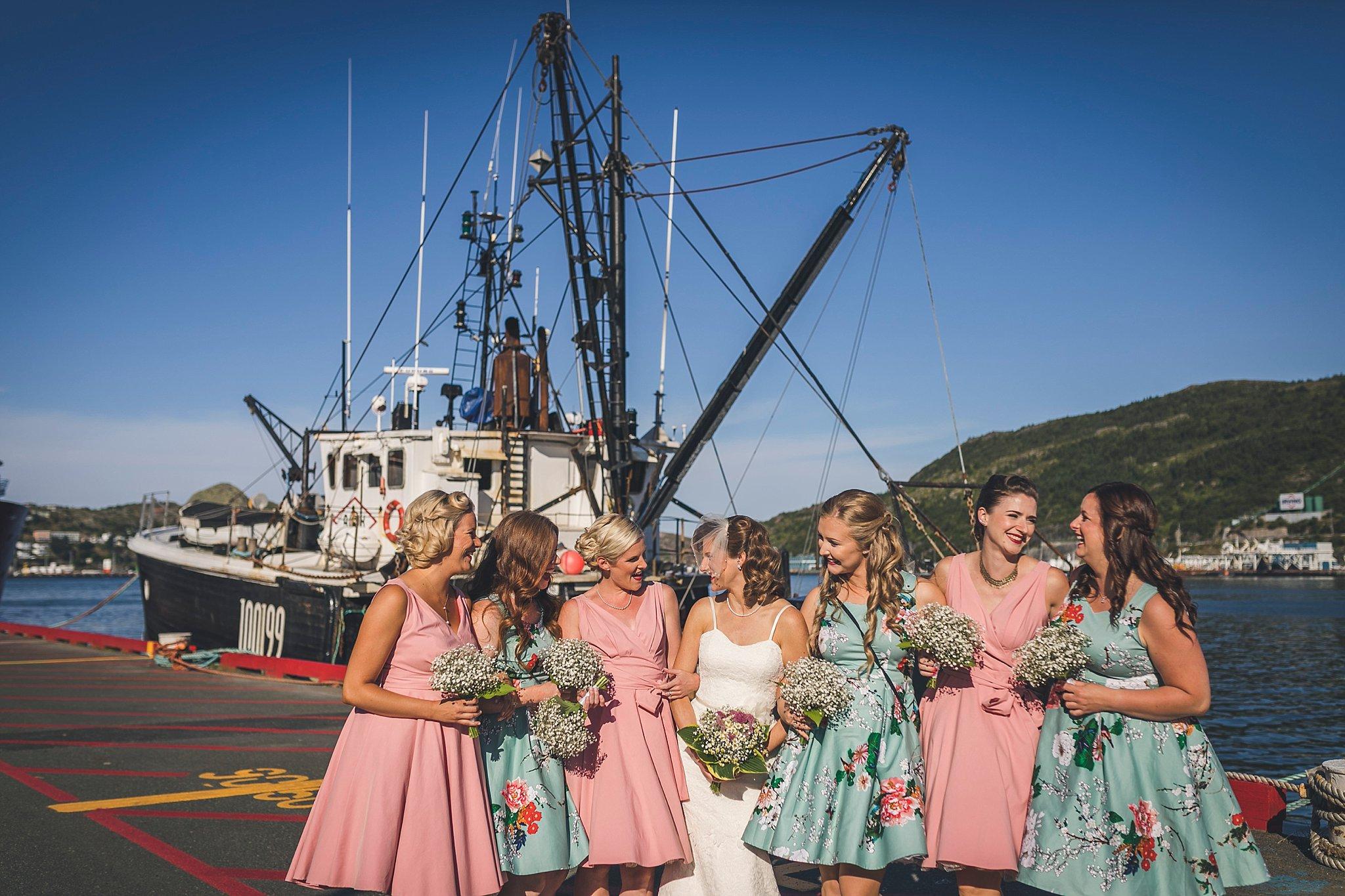 Bride and her bridesmaids before a St. John's, Newfoundland wedding
