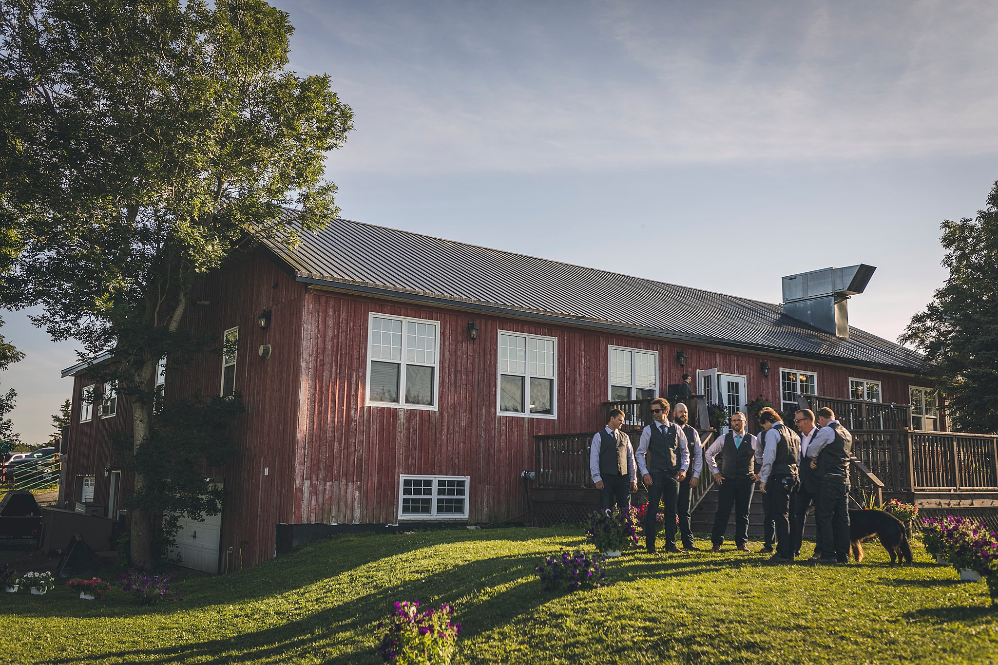 Groom and his groomsmen wait for the ceremony to start at a St. John's wedding held at Lester's Farm Chalet