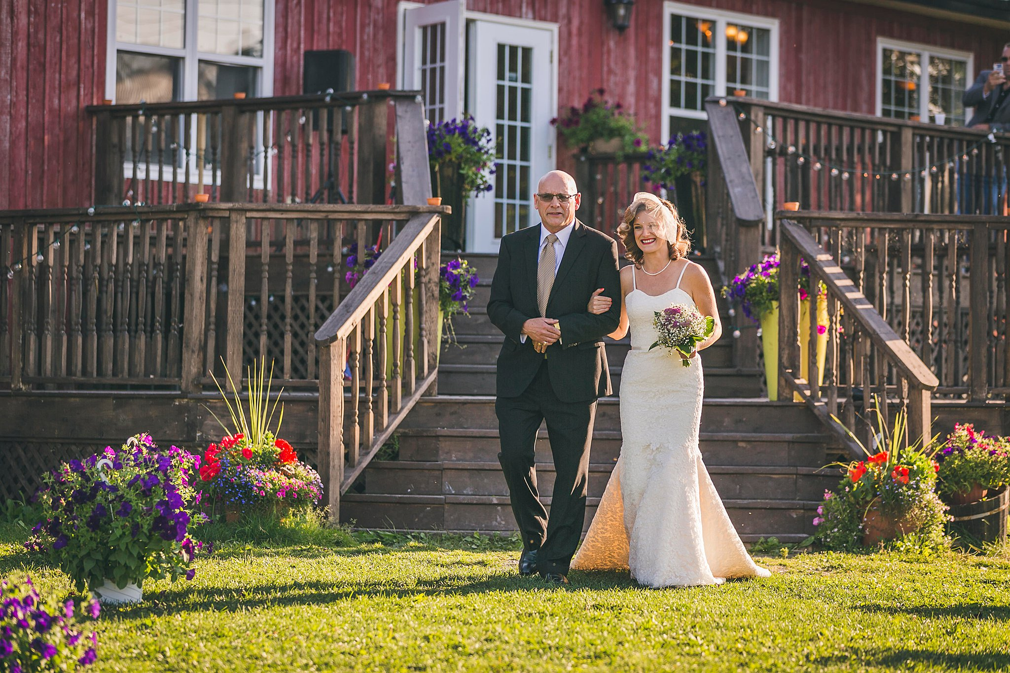 Bride and her father walk to the ceremony at a St. John's, Newfoundland wedding